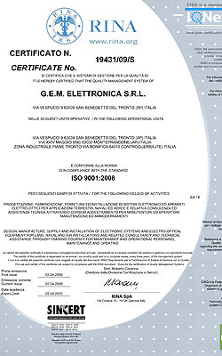 RINA certificato